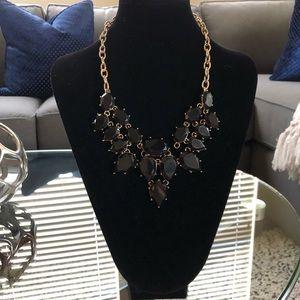 Jewelry - Black Teardrop Statement Necklace in gold tone